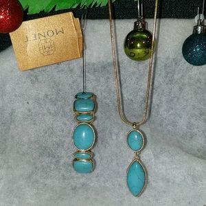 Monet Faux Turquoise Necklace/Bracelet Gift Set